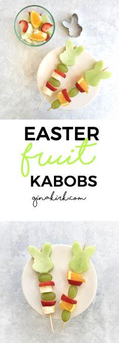 Easter fruit kabobs | Healthy Easter food | Easter fruit | Easter brunch idea | Easter treat recipe | GinaKirk.com @ginaekirk