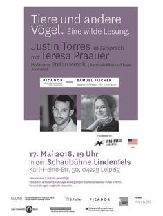 #Reading with Picador Guest Professor Justin Torres and Samuel Fischer Guest Professor Teresa Präauer in #Leipzig at Schaubühne Lindenfels.