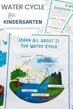 The Water Cycle for Kindergarten and learning about the water cycle with hands on activities is a lot of fun! Helpful tips, science activities, water cycle projects, and more activities that you can use to teach your children about the water cycle. Summer Preschool Themes, Weather Activities For Kids, Movement Activities, Hands On Activities, Science Activities, Water Cycle For Kids, Water Cycle Project, Cloud In A Jar, Homeschool Kindergarten