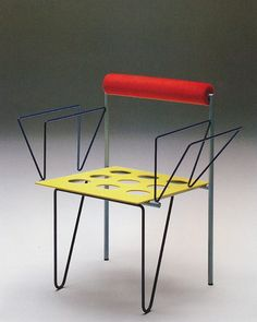 Shimpachro Ishigami, Butterfly chair 1988 www. Design Furniture, Chair Design, Cool Furniture, Memphis Furniture, Design Japonais, Muebles Art Deco, Chaise Chair, Memphis Design, Industrial Chair