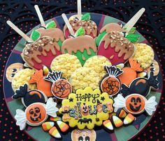 Halloween, popcorn balls and caramel apple cookies