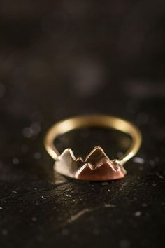 Mountain ring, stacking ring, minimalist 14k gold fill, brass copper sterling silver jewelry, mountain range