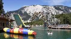 Area 47, Austria. This extreme outdoor water adventure park features slides, rides, and giant bouncing worms that all let out directly in the lake. Best for kiddos 8 and up.