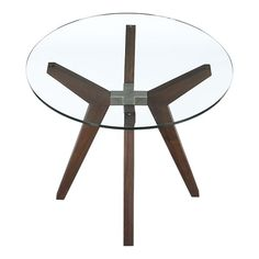 """Strut 36"""" Glass Top Table"""