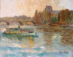 Eugene Chigot (1860-1923) - Le Louvre, Bateau-Mouche sur la Seine, 1905