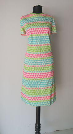 Vintage Day Glo 60s  Mod Shift Dress Large by hipandvintage, $25.00