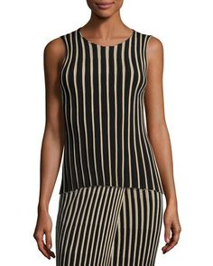 HELMUT LANG SLEEVELESS RIBBED STRIPED TOP, BLACK. #helmutlang #cloth #