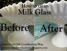 How to clean your milk glass wedding pieces- Green-Eyed Girl Productions use denture cleaner and soak it Konmari, Girl With Green Eyes, Milk Glass Vase, Fenton Milk Glass, Glass Bottles, Vintage Glassware, Vintage Dishes, Fenton Glassware, Antique Dishes