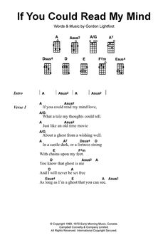 If You Could Read My Mind sheet music by Gordon Lightfoot (Ukulele ...