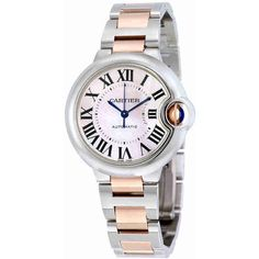 Cartier Ballon Bleu Mother of Pearl Automatic Ladies Watch (309,175 DOP) ❤ liked on Polyvore featuring jewelry, watches, analog wrist watch, roman numeral watches, cartier jewellery, dial watches and cartier jewelry