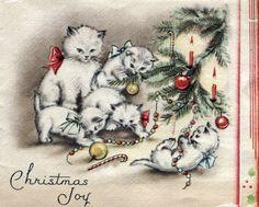 Christmas •~• vintage cat & kittens greeting card