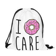 I Donut Care Draw String Bag £8 // Free UK Delivery https://www.teeisland.co.uk/shop/i-donut-care-draw-string-bag/