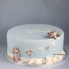 Marsispossu: Baptism cake for the boy, Baby baptism cake - - baby kuchen - Baby Baby Shower Cakes Neutral, Baby Shower Cakes For Boys, Baby Shower Parties, Baby Boy Shower, Baby Showers, Baby Boy Birthday, First Birthday Cakes, Baby Cakes, Bolo Fondant