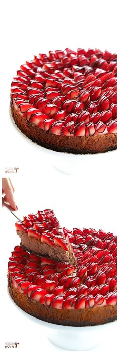 strawberry Nutella cheesecake-- I would do it with another cheesecake recipe though. Love the strawberries!