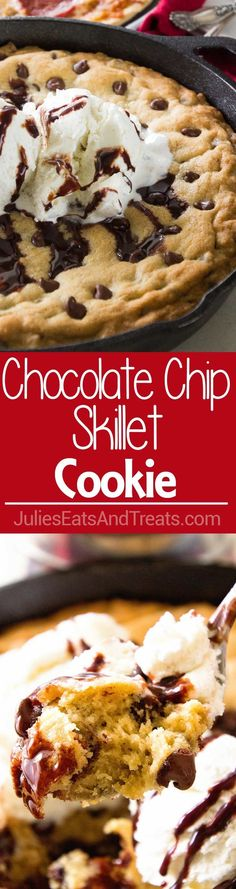 Chocolate Chip Skillet Cookie Recipe ~ This Cast Iron Skillet Chocolate Chip Cookie Recipe is the BEST! Perfectly Gooey in the Middle and Crunchy on the Outside. Whip up a Batch Tonight to go With Your JACK'S Pizza! via @julieseats