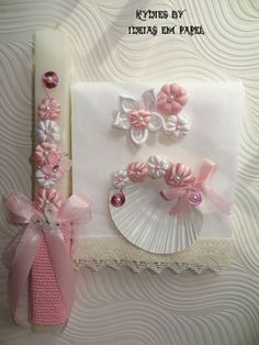 Conjunto Mariana vela borboletas Palm Sunday, Paper Jewelry, Christening, Diy And Crafts, Handmade Gifts, Projects To Try, Creations, Gift Wrapping, Easter