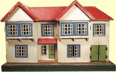 Very large early Tri-ang house Antique Dollhouse, Antique Dolls, Vintage Dolls, Dollhouse Miniatures, Vintage Stuff, Fairy Houses, Doll Houses, 1930s House, Window Frames