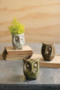 set of three ceramic owl planters | ceramic owl vases