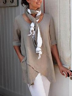 Mostata Half Sleeve Irregular Plus Size Blouses Asymmetrical Hem Shirt Half Sleeves, Types Of Sleeves, Short Sleeves, Casual Tops, Casual Shirts, Casual Jeans, Blouse En Coton, Linen Shirt Dress, Linen Pants