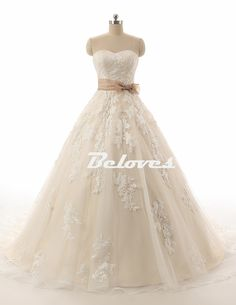 2016 Strapless Ball Gown Wedding Dress With Lace Appliques