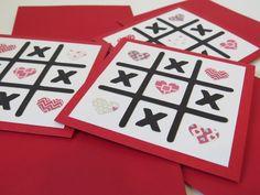Carte de St-Valentin, Carte de voeux, carte d'anniversaire, carte de fête «Tic-tac-toe» de la boutique Lamainalacarte sur Etsy