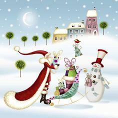 Nicola Rabbett – Santa With Sleigh & Snowman(cv).jpg Nicola Rabbett – Santa With Sleigh & Snowman(cv). Christmas Scenes, Noel Christmas, Christmas Clipart, Christmas Printables, All Things Christmas, Christmas Crafts, Christmas Decorations, Christmas Ornaments, Illustration Noel