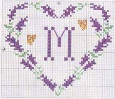 Lavender monogram pattern.
