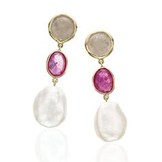 Sensual Keshi Pearl & Sapphire Gold Earrings - Yvel=.2,473<3<3