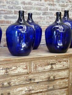 shopping at the paris flea markets - beautiful cobalt blue glass bottles