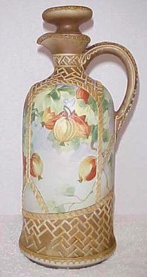 Antique Hand Painted Nippon Old Noritake Moriage Basket Weave Wine Jug | eBay