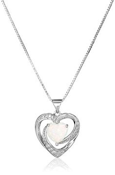 "Sterling Silver, Created Opal, and Created White Sapphire Heart Pendant Necklace, 18"". Necklace featuring twisted Sterling silver heart pendant accented with round created sapphires and heart-shape created opal. Box chain with spring-ring clasp. Opal is October's birthstone. Center stone is 8mm Created Opal Heart. Imported."