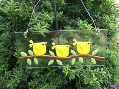 Yellow Birds Art Glass Suncatcher by LanieMarieDesigns on Etsy