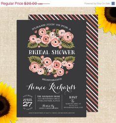 Rustic Bridal Shower Invitation DIY Printable. $20.00