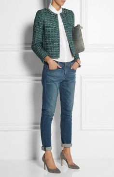 Lovely Winter Office Outfits With Jeans - Mode - Jackets Mode Outfits, Jean Outfits, Fall Outfits, J Crew Outfits, Outfit Jeans, Boyfriend Jeans Outfit, Mode Chic, Mode Style, Work Casual