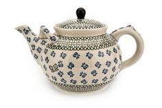Blue Rose Large Teapot (7 cup) Polish Pottery
