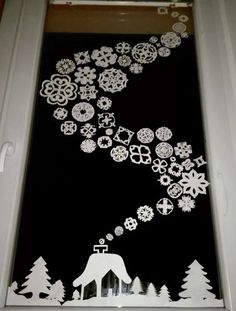Wonderful Christmas Window Decor Ideas – Welcome My World Office Christmas Decorations, Christmas Crafts For Kids, Christmas Art, Holiday Crafts, Christmas Ornaments, Christmas Windows, Spirit Of Christmas, Diy And Crafts, Paper Crafts