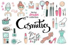 Doodle cosmetics, fashion, spa and beauty. Vector. - Free Design of The Week from DesignBundles.net