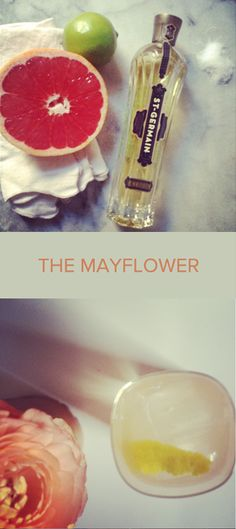 The Mayflower Cocktail    1.5 oz vodka  1 oz grapefruit juice  0.5 oz lime juice  0.5 oz St Germain  1 tsp sugar  3.0 oz seltzer water  Garnish with lemon twist    Dissolve sugar in citrus juice. Combine with the rest of the ingredients over ice. Top with seltzer, stir, garnish, and drink.