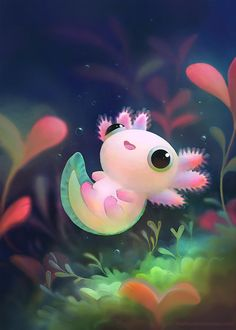 The most kawaii axolotl Cute Animal Drawings, Kawaii Drawings, Adorable Drawings, Cute Animal Illustration, Kawaii Illustration, Ink Drawings, Poses References, Cute Creatures, Cute Fantasy Creatures