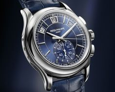 """Patek Philippe Geneve Annual Calendar Chronograph 5905P - see Ariel's writeup over at Centurion Magazine- """"The colour blue seems to be a hot hue in the high-end watch industry currently, and this Patek Philippe 5905P emphasises why blue is a very attractive and sensible colour for a luxury watch..."""" then see our hands-on pictures, video, & article with its predecessor, the 5960 in steel: http://www.ablogtowatch.com/patek-philippe-annual-calendar-chronograph-5960-steel-watch-2014-hands/"""