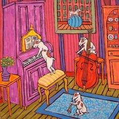 JAck Russell art dog abstract ceramic art TILE coaster *gift JSCHMETZ jazz trio