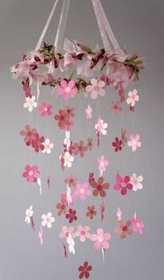 Pink Flower Mobile for Baby Girl Nursery by LoveBugLullabies, $55.00
