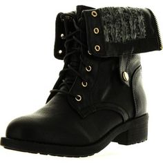 Refresh Womens Dason-03 Cuff Military Low Heel Lace Up Mid-Calf Riding Combat Boot Black 7