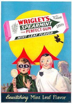 Vintage Halloween Ad ~ Wrigley's Spearmint Gum ©1929