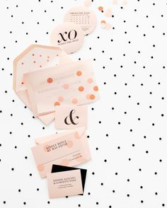 """Polka Dot Wedding Ideas: A round save-the-date card asks recipients to """"Circle the Date,"""" while a letterpressed invite on blush paper pops out from behind a rose-gold-and-pink overlay. Invitation Fete, Invitation Design, Logo Inspiration, Wedding Inspiration, Stationery Paper, Stationery Design, Wedding Stationary, Wedding Invitations, Invites"""