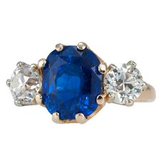 Tiffany Victorian Sapphire Diamond Ring | From a unique collection of vintage three-stone rings at http://www.1stdibs.com/jewelry/rings/three-stone-rings/