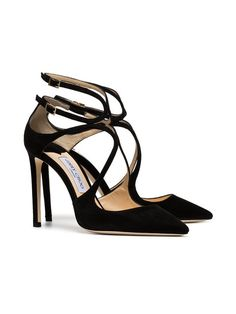 66ee079aa4 Jimmy Choo Black Lancer Suede Pointed Toe Leather Strappy Pumps
