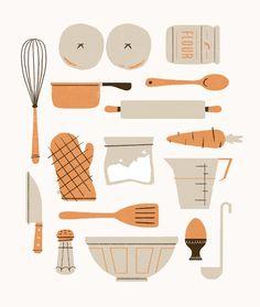Nigella by Kieran Gabriel. Simple Illustration, Illustration Inspiration, Digital Illustration, Nigella, Baking For Beginners, Valentines Baking, Baking Logo, Baking Quotes, Food Illustrations