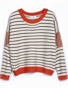Beige Contrast Leather Long Sleeve Striped Sweater pictures   Sheinside.com    Medium   Can 5b4565886f