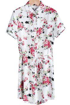 Red Lapel Short Sleeve Floral Belt Dress RUBp.699